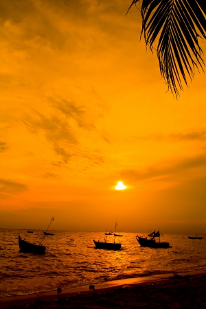huahin: sunset view landscape sea in thailand