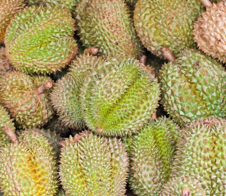 Durian fruits background Market thai in bangkok thailand photo