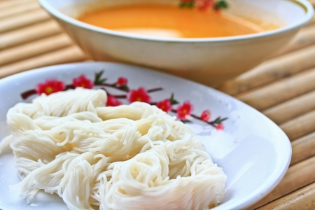 Thailand food Fermented Rice Flour Noodles  photo