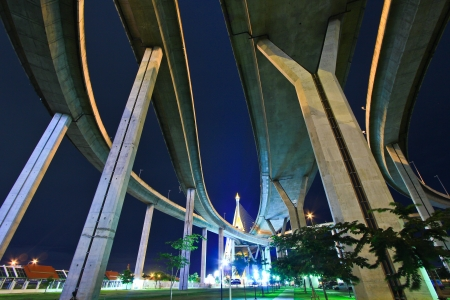twice: Bhumibol Bridge in Thailand, also known as the Industrial Ring Road Bridge, in Thailand  The bridge crosses the Chao Phraya River twice   Stock Photo