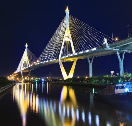 bhumibol: Bhumibol Bridge in Thailand, also known as the Industrial Ring Road Bridge, in Thailand  The bridge crosses the Chao Phraya River twice   Stock Photo