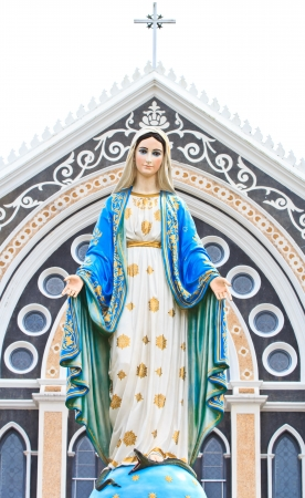 bible christmas: VIrgin Mary Statue in front of the cathedral of the immaculate conception Stock Photo