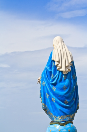 god figure: VIrgin Mary Statue in front of the cathedral of the immaculate conception Stock Photo