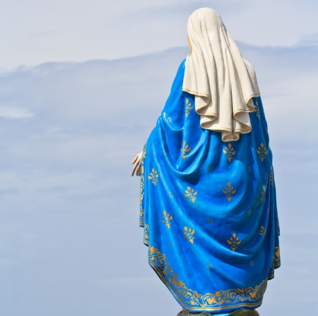immaculate conception: VIrgin Mary Statue in front of the cathedral of the immaculate conception Stock Photo