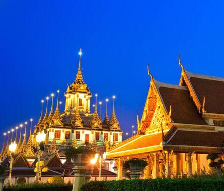 Temple Loha Prasat Metal Palace in Bangkok Thailand in Wat Ratchanaddar  photo