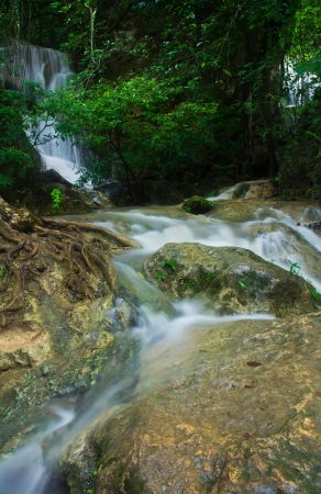 Waterfall in the forest asia thailand Erawan Waterfall, Kanjanaburi Thailand  photo