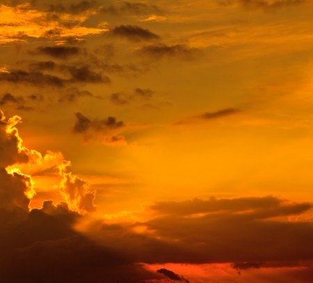 Sunset   sunrise with clouds, light rays and other atmospheric Stock Photo