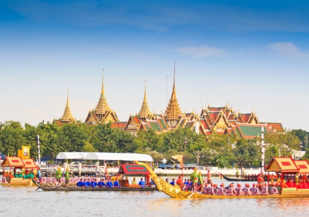 BANGKOK,THAILAND-NO VEMBER 9 Decorated barge parades past the Grand Palace at the Chao Phraya River during Fry the Kathina ceremony cloth of Royal Barge Procession on Nov  9, 2012 in Bangkok,Thailand