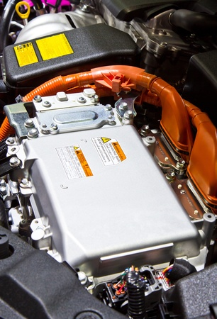automotive industry: Battery and hybrid Engine  Stock Photo