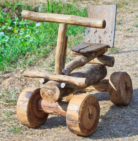 antique asian: Wooden toy car