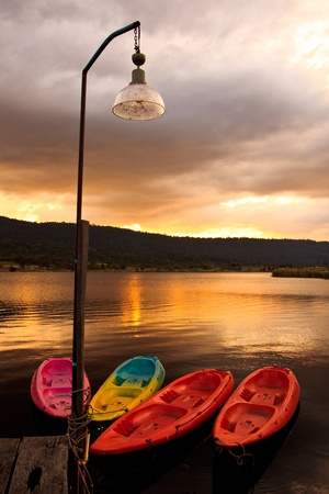 kayaking at beautiful sunset photo