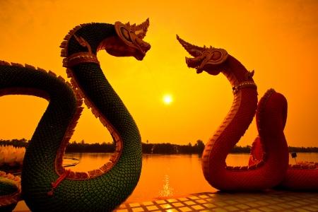 naga china: Sunrise sunset and dragon Serpent