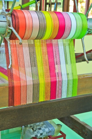 Machine woven silk Old-style thailand photo