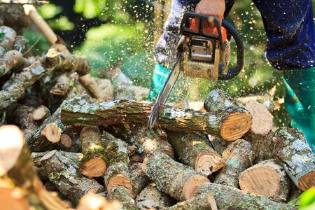 man cutting firewood for home with a chainsaw Stock Photo