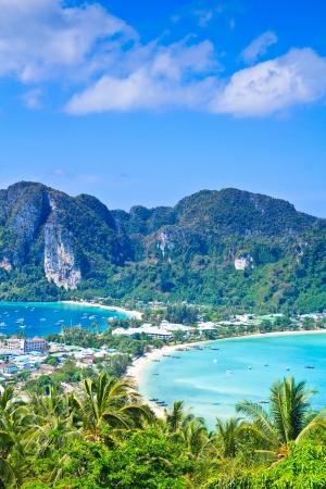 View tropical island with resorts - Phi-Phi island, Krabi Provin thailand Stock Photo