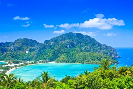 View tropical island with resorts - Phi-Phi island, Krabi Provin thailand photo