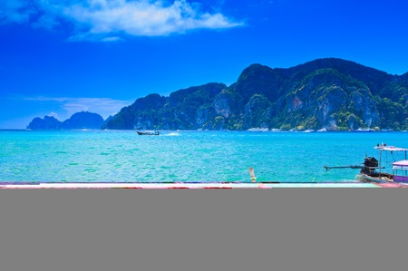 Boat on sea Phi Phi island Thailand photo