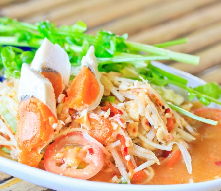 Thai food papaya salad thailand  photo