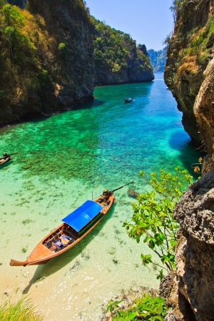 dive trip: Sea boat view and island south Thailand  Stock Photo