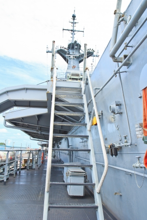 a battleship: Looking up a stairway on battleship ship  Stock Photo