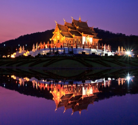Twilight Ho kham luang temple northern Chiang Mai Province Thailand  photo