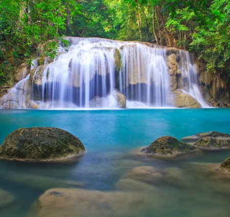 Waterfall beautiful  erawan waterfall  in kanchanaburi province asia southeast asia Thailand