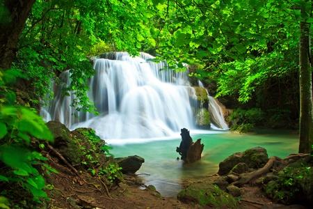 Huay Mae Kamin waterfall in kanchanaburi province asia southeast asia Thailand
