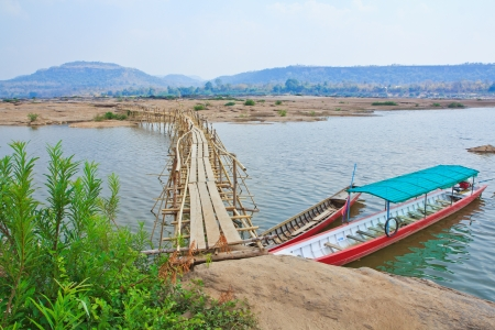 Bamboo bridge across the river  Mekong River  thailand  photo