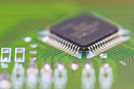 chipset: Close-up of electronic circuit board macro and remote  Stock Photo