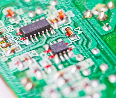 Close-up of electronic circuit board macro and remote  photo