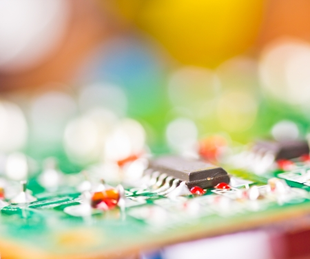 Close-up of electronic circuit board macro and remote  Stock Photo