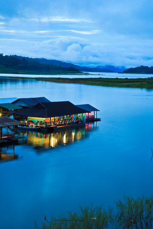 Morning light at Waterfront home and Home in the water and raft in Sangklaburi kanchanaburi Province Asai Thailand  Stock Photo - 22291502