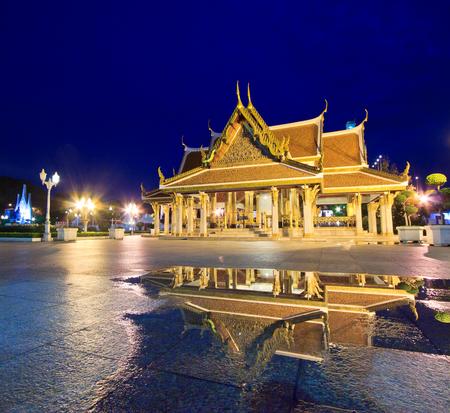 Wat ratchanaddar temple at twilight in bangkok asia Thailand photo