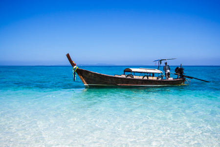 long tailed boat: Long-tailed boat at Andaman Sea Phi Phi island Southeast Asia Thailand