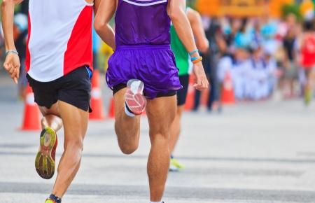 fast foot: Runner running and marathon  Stock Photo