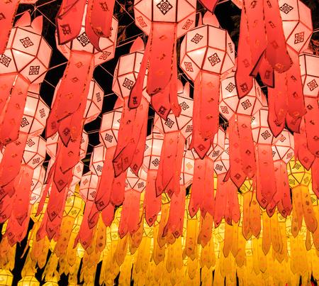 Lanna lantern, thai lantern in northern thai style lanterns at Loi Krathong  Yi Peng  Festival, Chiang Mai, Thailand  photo