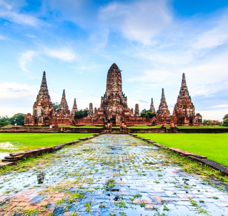 Old Temple wat Chaiwatthanaram of Ayuthaya Province  Ayutthaya Historical Park  Asia Thailand  Stock Photo