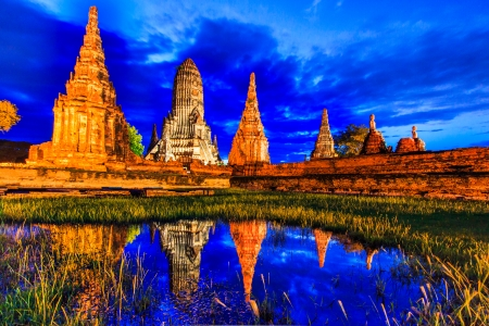 temple tower: Old Temple wat Chaiwatthanaram of Ayuthaya Province  Ayutthaya Historical Park  Asia Thailand  Stock Photo