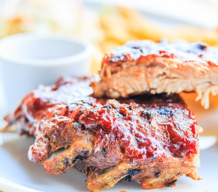 Grilled pork ribs  With tomato sauce  photo