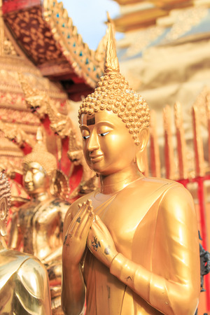 cambodia sculpture: Golden Buddha in Temple Chiang Mai Asia Thailand  Stock Photo