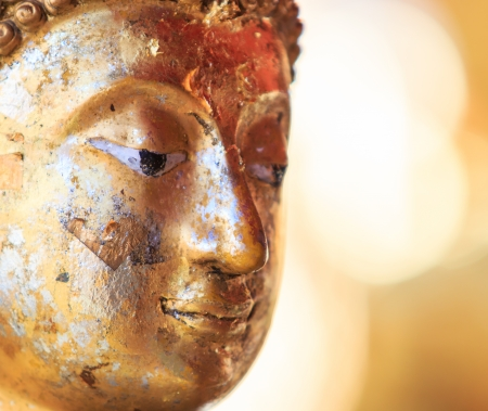 Buddha face and Buddha head in Asia Thailand    Stock Photo