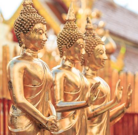 Golden Buddha in Temple Chiang Mai Asia Thailand  Stock Photo