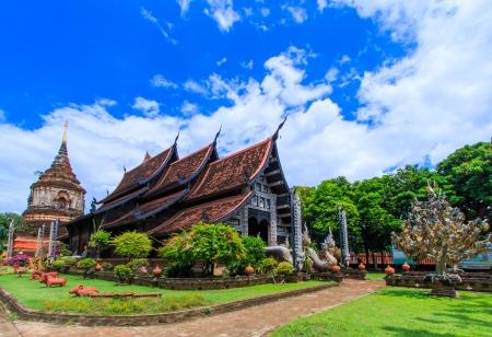 molee: Old wooden church of Wat Lok Molee Chiang mai Thailand