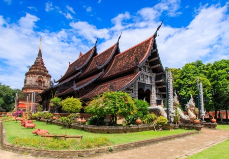 Old wooden church of Wat Lok Molee Chiang mai Thailand  photo