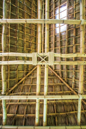 The construction traditional thailand roof from bamboo and straw photo