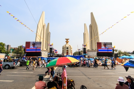 congruity: BANGKOK, THAILAND-DECEMBER 9   The big group of protestors to at Democracy monument on Ratchadumnoen road in Bangkok on December 9, 2013 in Bangkok, Thailand