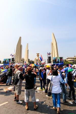 BANGKOK, THAILAND-DECEMBER 9   The big group of protestors to at Democracy monument on Ratchadumnoen road in Bangkok on December 9, 2013 in Bangkok, Thailand