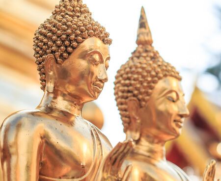 cambodia sculpture: Golden Buddha in Temple Chiang Mai Asia Thailand  Stock Photo
