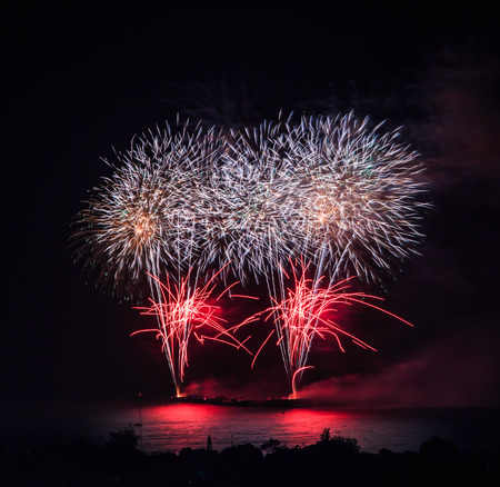 new year  s day: Beautiful colorful holiday fireworks on the black sky background