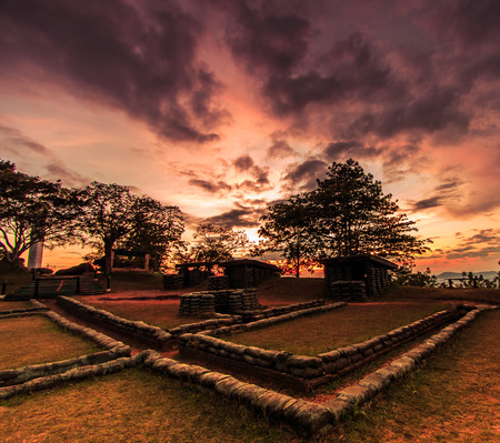 Sunset Trenches and bunkers thailand Stock Photo